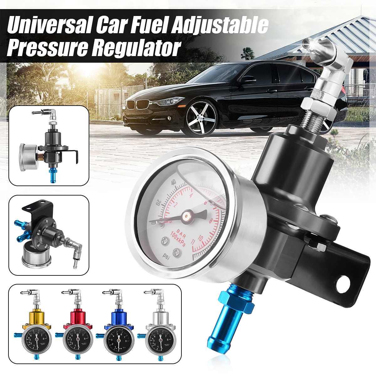 Universal Car Adjustable Fuel Pressure Regulator With Gauge Kit Aluminum Red/Blue/Gold/Silver/Black/Titanium