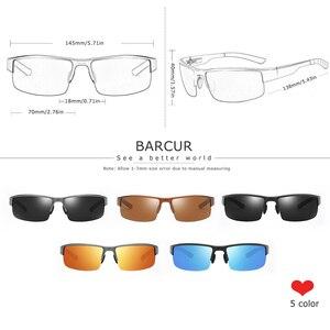 Image 3 - Barcur 半リムレス偏光アルミニウムマグネシウムサングラススポーツサングラス男性女性 oculos gafas デゾル