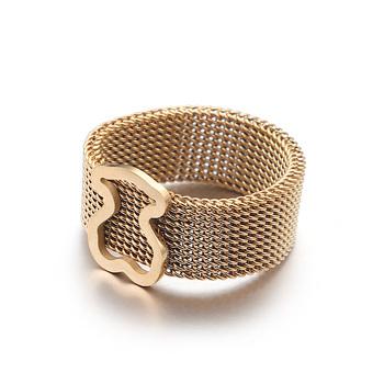 Biżuteria niedźwiedź pierścień ze stali tytanowej Hollow pierścień ze stali nierdzewnej złoto różowe złoto kolor trzy kolory pierścieni hurtowych tanie i dobre opinie LXYUSTEEL STAINLESS STEEL Kobiety Metal TRENDY Zespoły weselne Zwierząt 12mm Wszystko kompatybilny Okres Tracker Brand New