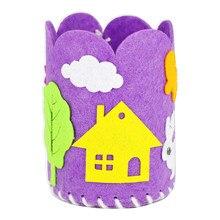 Crianças diy pano caneta recipiente adesivo dos desenhos animados artesanato hobby decorar artesanal não tecido brinquedos criativos educativos para crianças