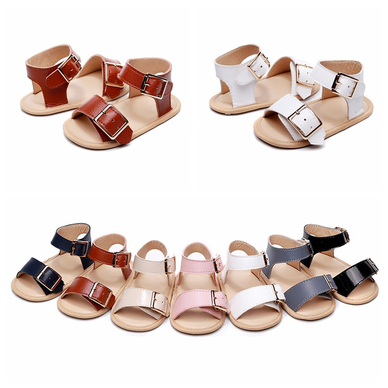 Summer Baby Shoes Newborn Infant Baby Girls Boys Shoes Solid Non-slip PU Leather Breathable Toddler Shoes 0-24M