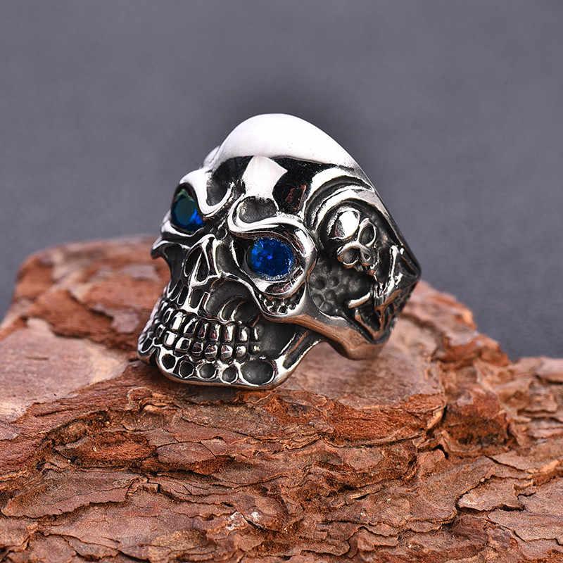 HNSP индивидуальное кольцо с черепом для мужчин Готический Байкер Скелет ювелирные изделия Большой размер 7-14 мужские кольца