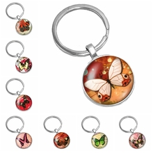 2019 New Hot Super Beautiful Colorful Butterfly Pattern Series Glass Convex Round Keychain Popular Jewelry Gift