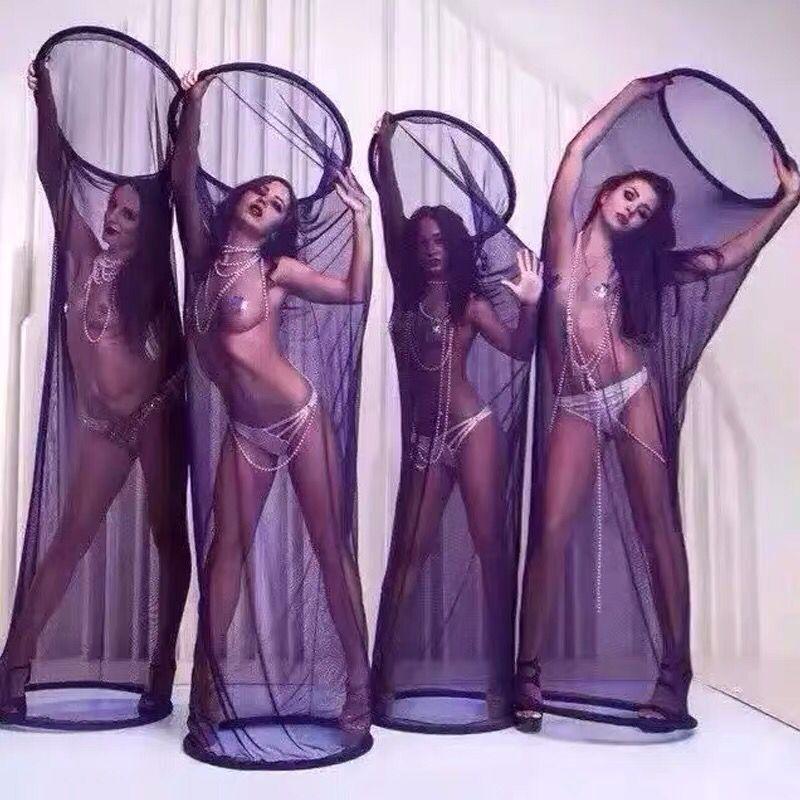 Sexy vestido de club nocturno chicas malla jaula cubierta escenario prop para escenario espectáculo escenario prop negro blanco rojo| |   - AliExpress