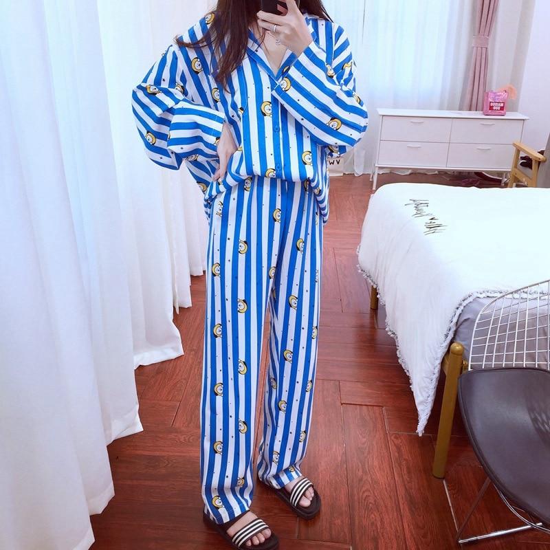Women Korean Style Pajamas Shirts And Pants Sets Cute Stripes Dog Rabbit Heart Printed Pyjamas Cartoon Mouse Kawaii Sleepwear