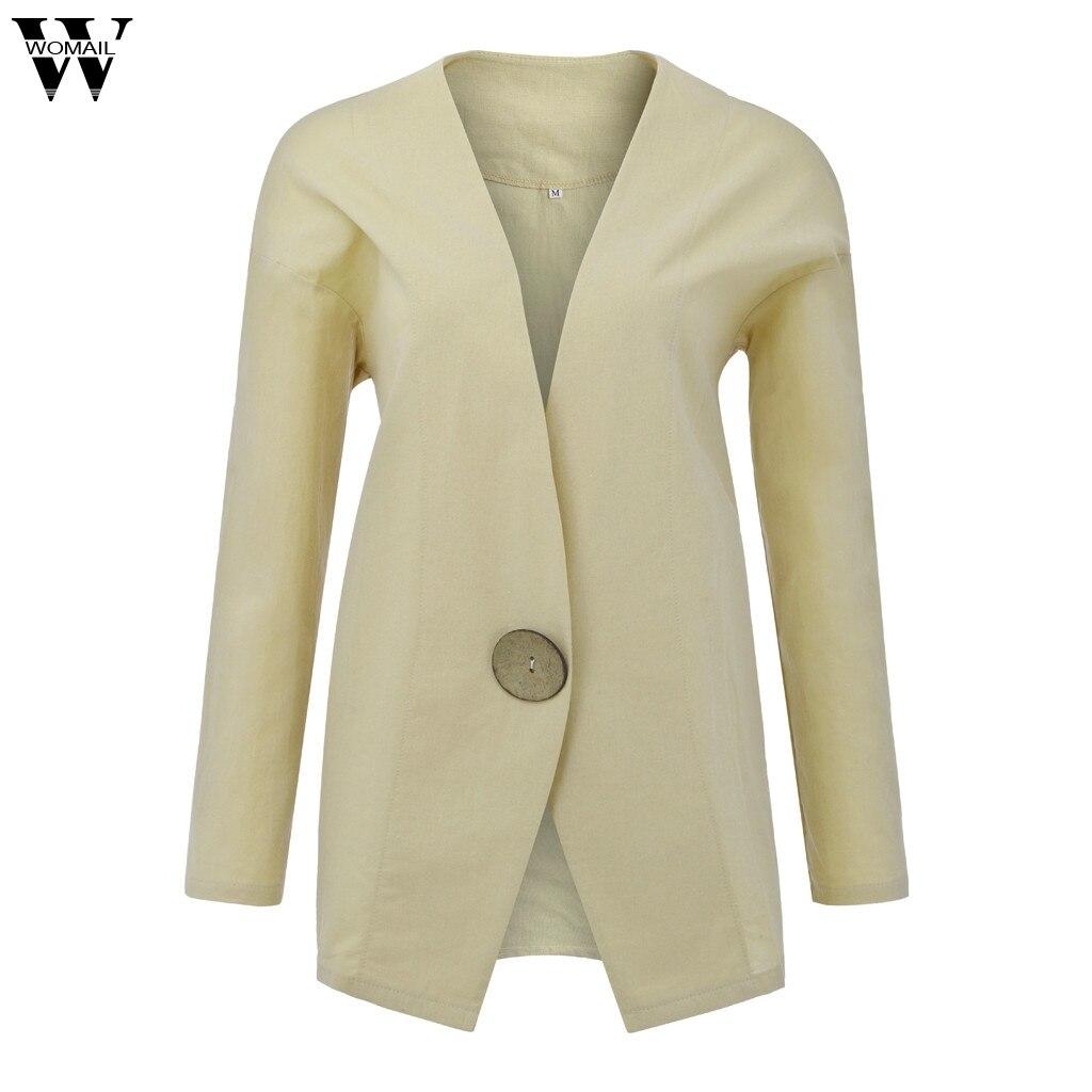Womens Solid Linen Blazer Buttons Long Sleeve Pocket Cardigan Loose Suit Coat