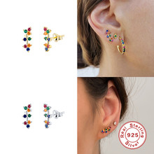 Boucles d'oreilles en argent Sterling 925 véritable, bijoux de Cartilage en cristal personnalisés pour femmes et filles, unisexe arc-en-ciel en Zircon