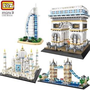 LOZ MINI Building Blocks World Famous Classic Architecture tower bridge/burj al arab collection gift for kids diy exhibition toy