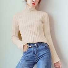 2019 Turtleneck Women Knitted Sweater Spring Autumn Solid Slim Warm Pullover Female Long Sleeve Cotton Sweaters