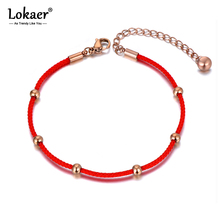 Lokaer Ethnic Chinese Stainless Steel Red Rope Hand-woven Bracelets For Women Girls Creative Good Lucky Bracelet Jewelry B19146