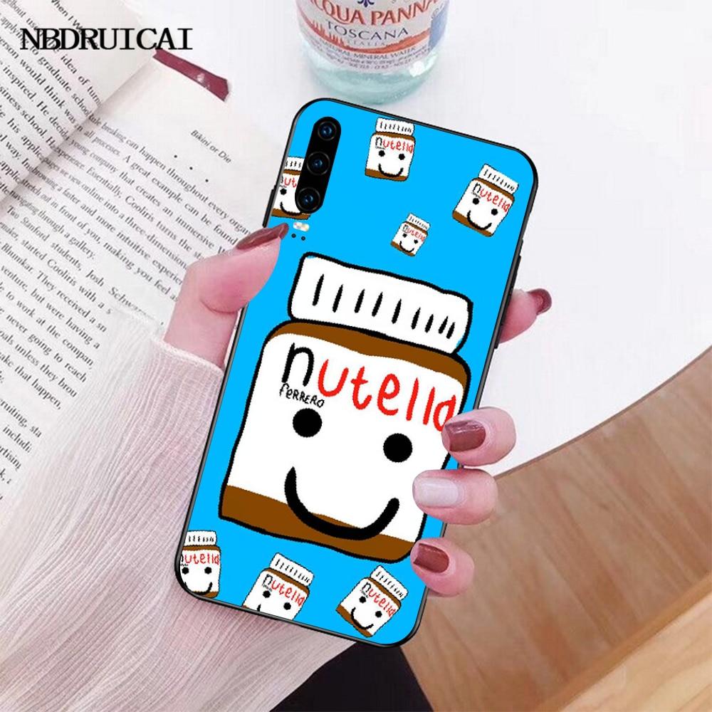 NBDRUICAI الشوكولاته نوتيلا زجاجة وصل حديثا الأسود هاتف محمول حافظة لهاتف huawei P30 P20 P10 P9 P8 زميله 20 10 برو لايت