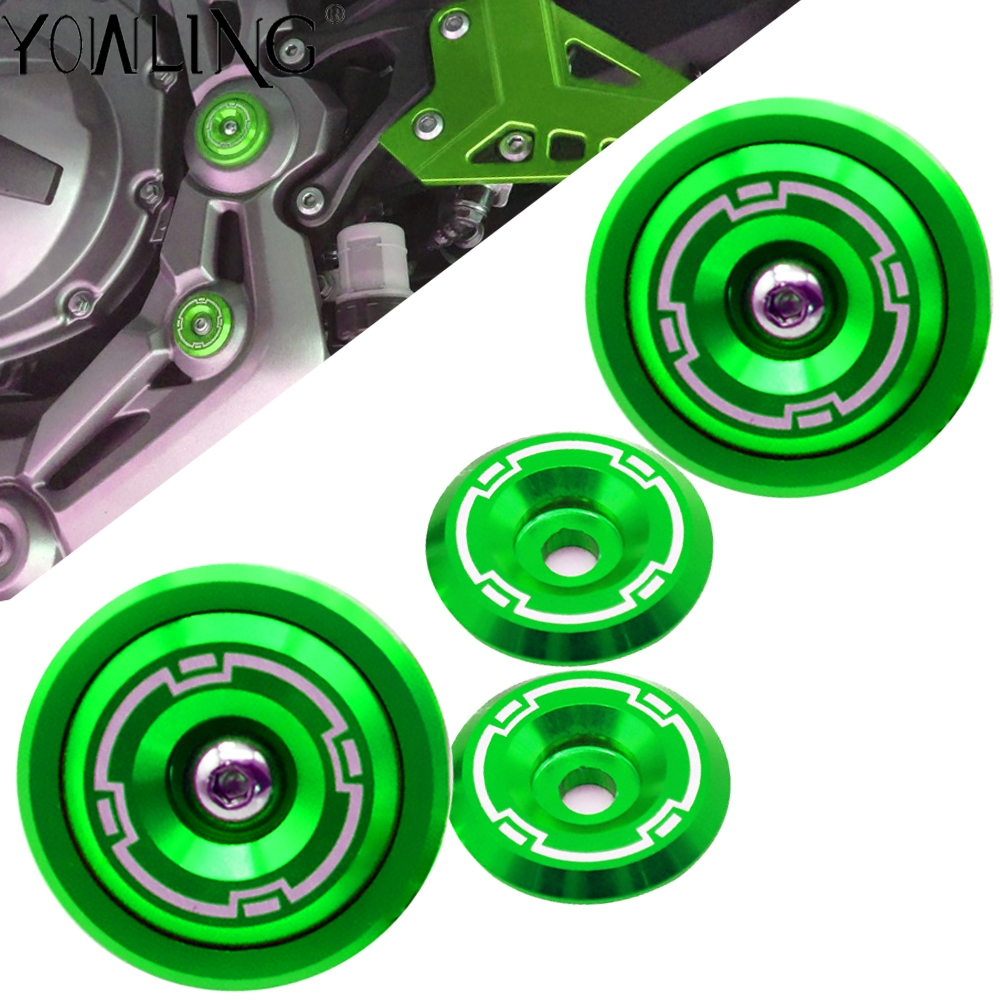 Green Color For <font><b>Kawasaki</b></font> <font><b>Z900</b></font> Z 900 2017 2018 <font><b>2019</b></font> Motorcycle Accessories Frame Caps Hole Cover Plug Kit Decor Fairing Guard image