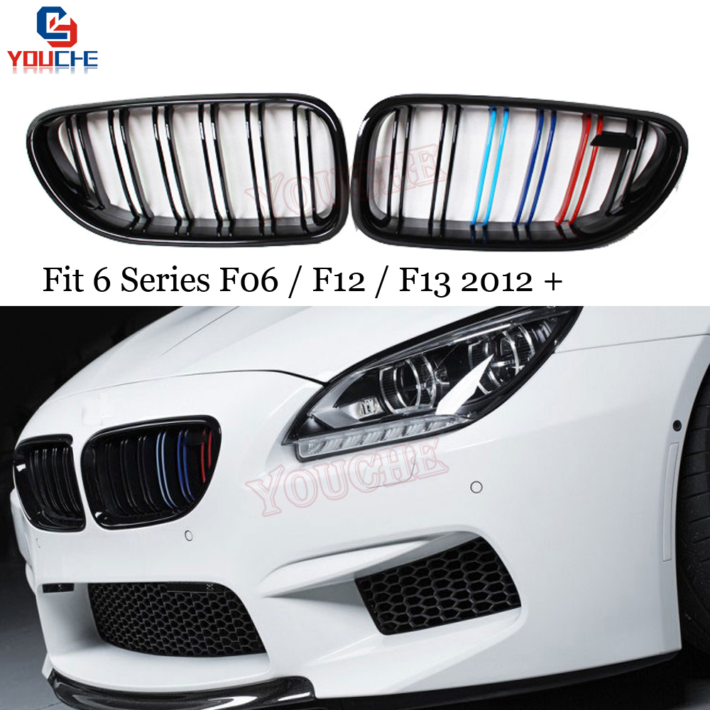 M6 Style Three M Color Kidney Grille Mesh For BMW 6 Series F06 F12 F13 2012 + 640i 650i M6 Gran Coupe Convertible
