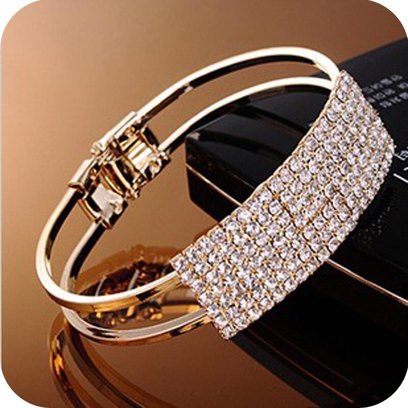 Fashion Jewelry Crystal Bracelet Full Stars Babysbreath Cuff Open Bangles For Women Elegant Bracelet With Shiny Crystal Bangles