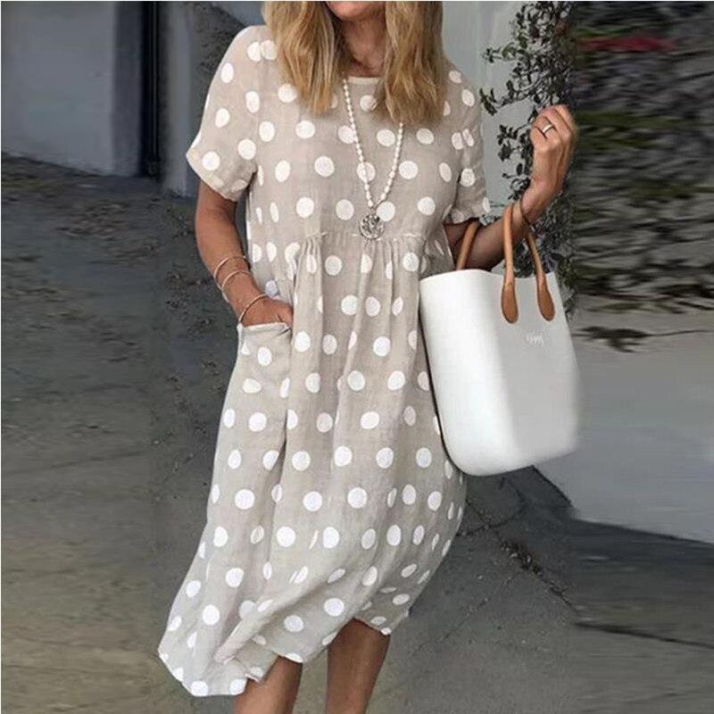 Verão manga curta solta vestido de festa casual feminino plus size vestido de bolso elegante retro dot daisy print vestidos de verão kz002