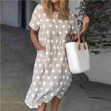 Женское свободное вечернее платье с коротким рукавом, летнее Повседневное платье большого размера с карманами, элегантный ретро-сарафан в ...