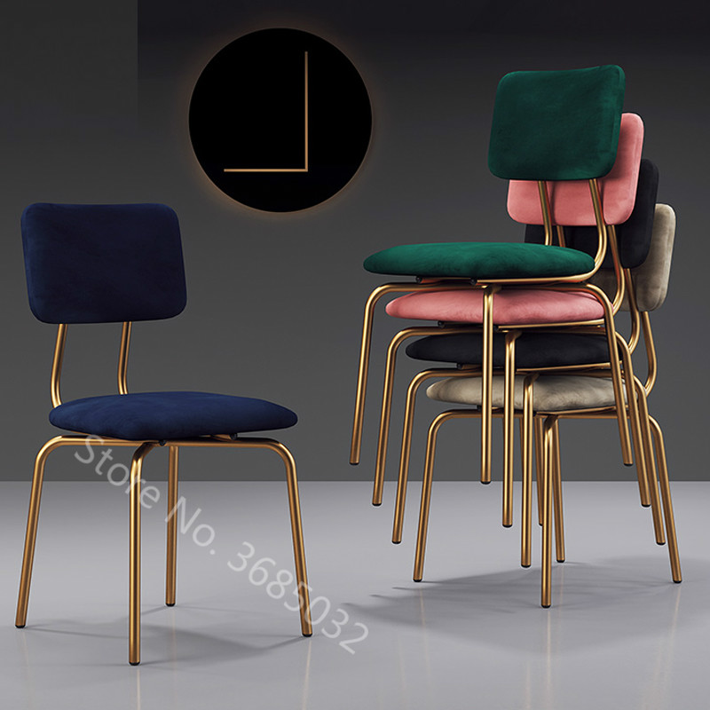 Cheap Nordic Modern Dining Chairs Ins Makeup Chair Light Luxurious  Restaurant Chair Pink Living Room Furniture Gold Metal Chair