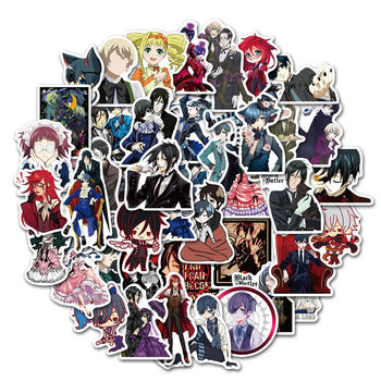 50 pcs/Pack Anime Black Butler Stickers Car Phone Travel Luggage Trolley Laptop Computer Sticker Toy image