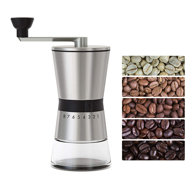 LEESEPH Precision Manual Coffee Grinders, 15 Adjustable Settings, Brushed 18/8 Stainless Steel