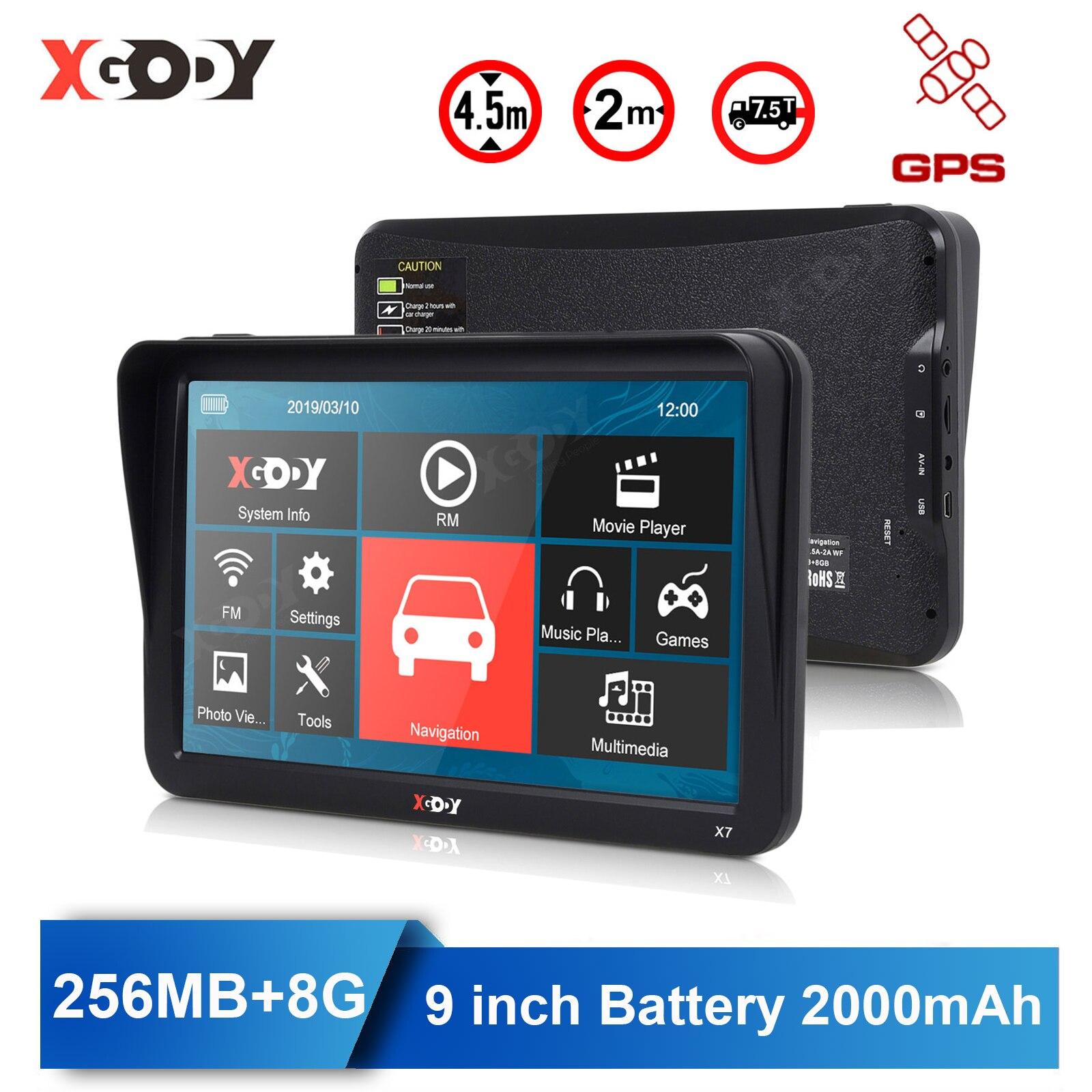 Автомобильный GPS-навигатор XGODY, Bluetooth, 9 дюймов, 256 Мб + 8 Гб, сенсорный экран, Россия, Navitel, спутниковая навигация, Бесплатная карта Европы