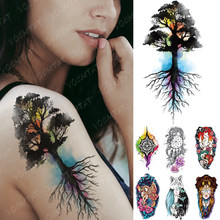 Waterproof Temporary Tattoo Sticker Family Tree Compass Flash Tatto Dreamcatcher Unicorn Body Art Arm Fake Tatoo Women Men(China)