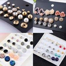 2019 cristal simulado pérola brincos conjunto feminino jóias acessórios piercing bola parafuso prisioneiro brinco kit bijouteria brincos atacado