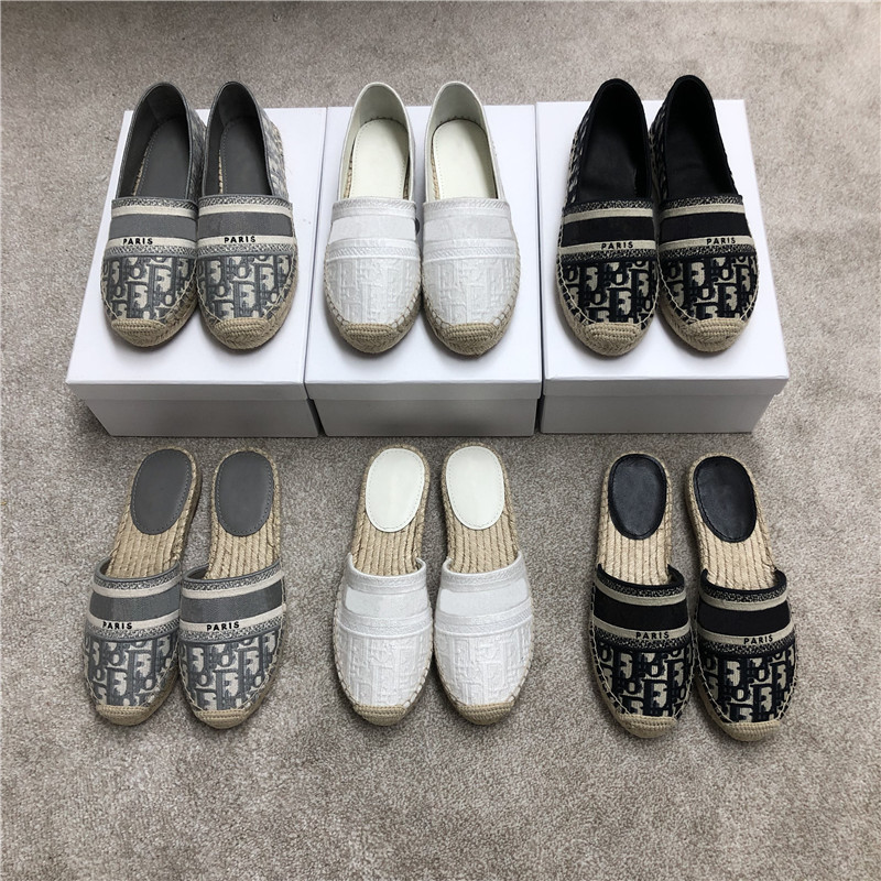 Shoes Woman 2020 New Summer D Straw Fishman Xie Female Embroidery Letters Flat Ban Tuo Xie Women Ladies Shoes