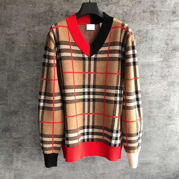 HLBCBG 2020 Sweater Women New Loose Retro Stripe Jacquard Plaid V Neck Fashion Autumn And Winter Knitted Pullover Tops цена 2017