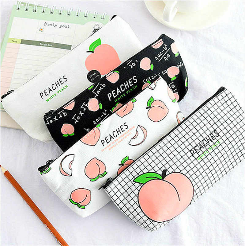 LoLede Store 1Pcs I Love Peach PencilsBags Kawaii Girl Pencil Case Durable Large Capacity School Supplies Stationery