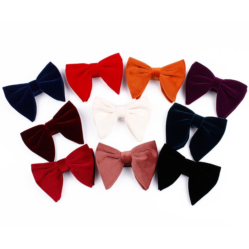 Men Women Fashion Velvet Big Bow Ties Wedding Party Business Solid Hot Bowtie Winter Warm Bow Tie Red Blue Black Blaazer Bow Tie