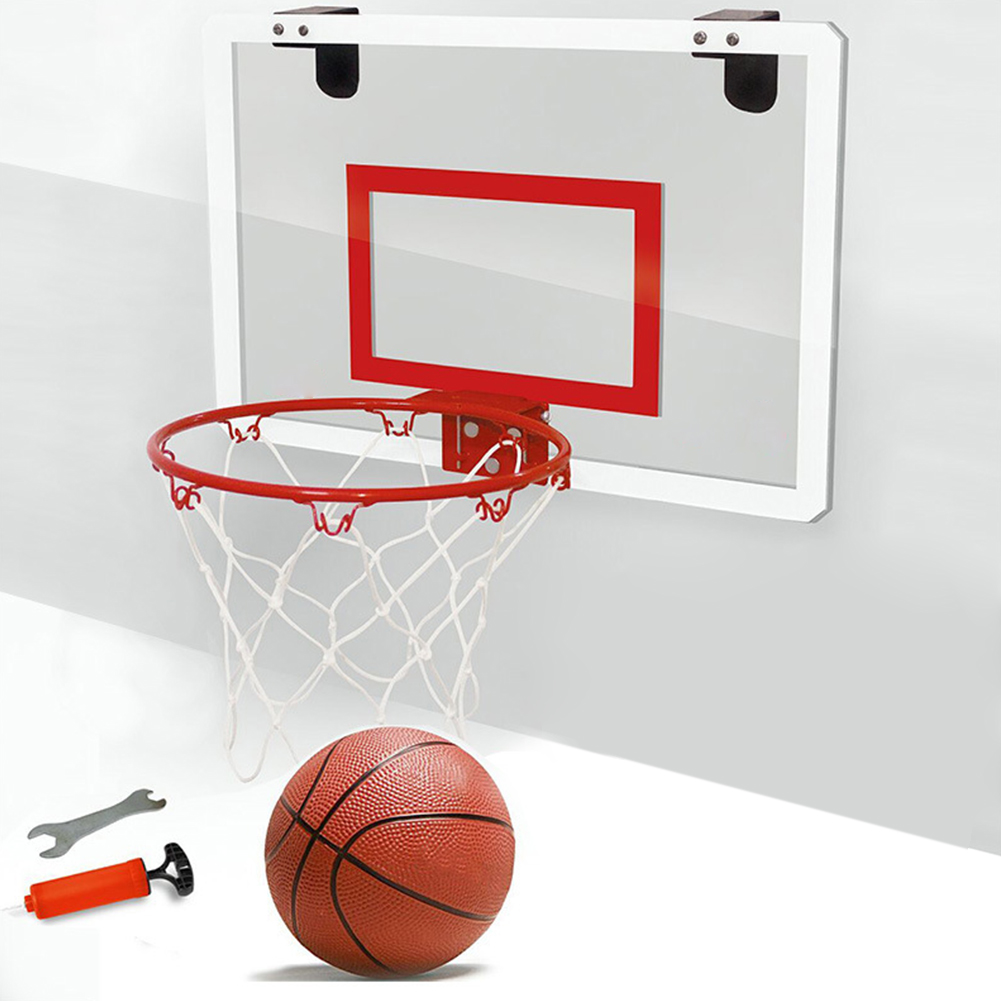 Shatterproof Backboard Indoor Mini Sports Punch Free Toy Rebounds Wall Hanging Children Basketball Hoop Set With Ball Steel Rim