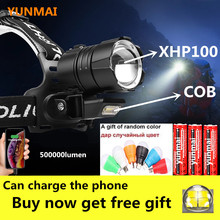 XHP100 Headlamp Most-Powerful 500000lm XHP90 Rechargeable 18650 with Cob-Light Xhp70/head-Flashlight