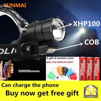 500000Lm Most Powerful XHP100 headlamp XHP90 led Headlight 18650 Rechargeable USB Head Lamp with cob light XHP70 Head Flashlight