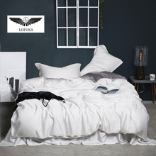 Lofuka Luxury 100% Silk White Bedding Set Beauty Duvet Cover Set Queen King Flat Sheet Bed Linen Pillowcase For Yourself Bed Set