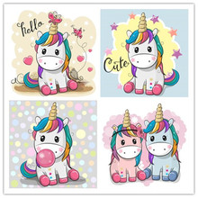 New DIY Full Square Diamond Embroidery Crystal Mosaic Cartoon Unicorn Picture Painting Cross Stitch Hobbies & Crafts