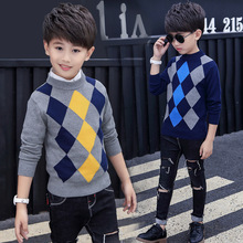 2019 Autumn Winter Plaid O Neck Christmas Sweater Boy Knitted Kids Cardigan Children Clothing Baby Kids Sweater for Boy Pullover цены онлайн