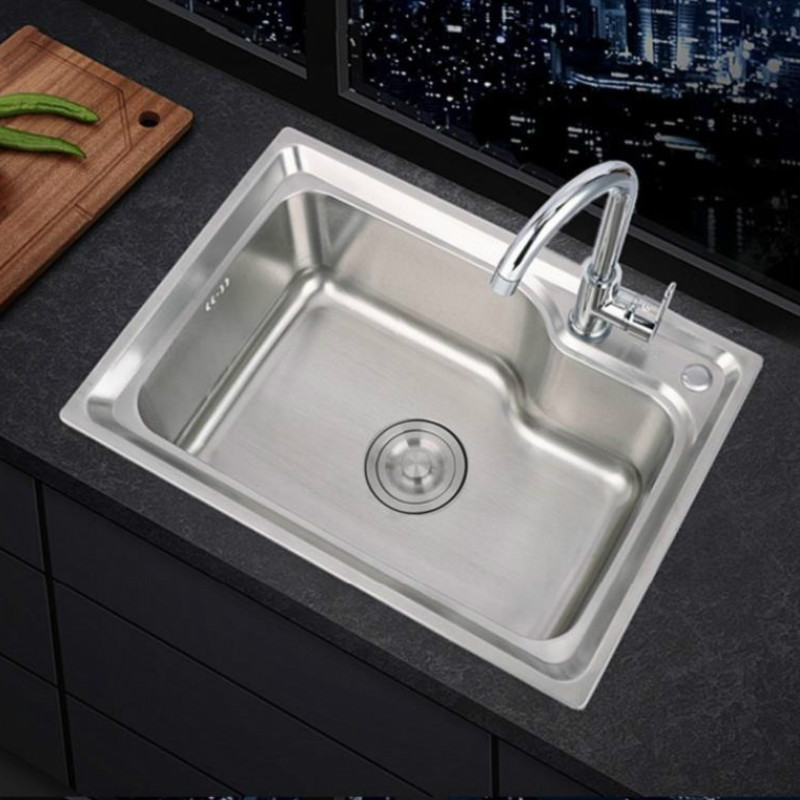 304 Stainless Steel Sink Single Sink Kitchen Sink Sink Single Basin Thickened Sink Large Single Slot Set WF907250