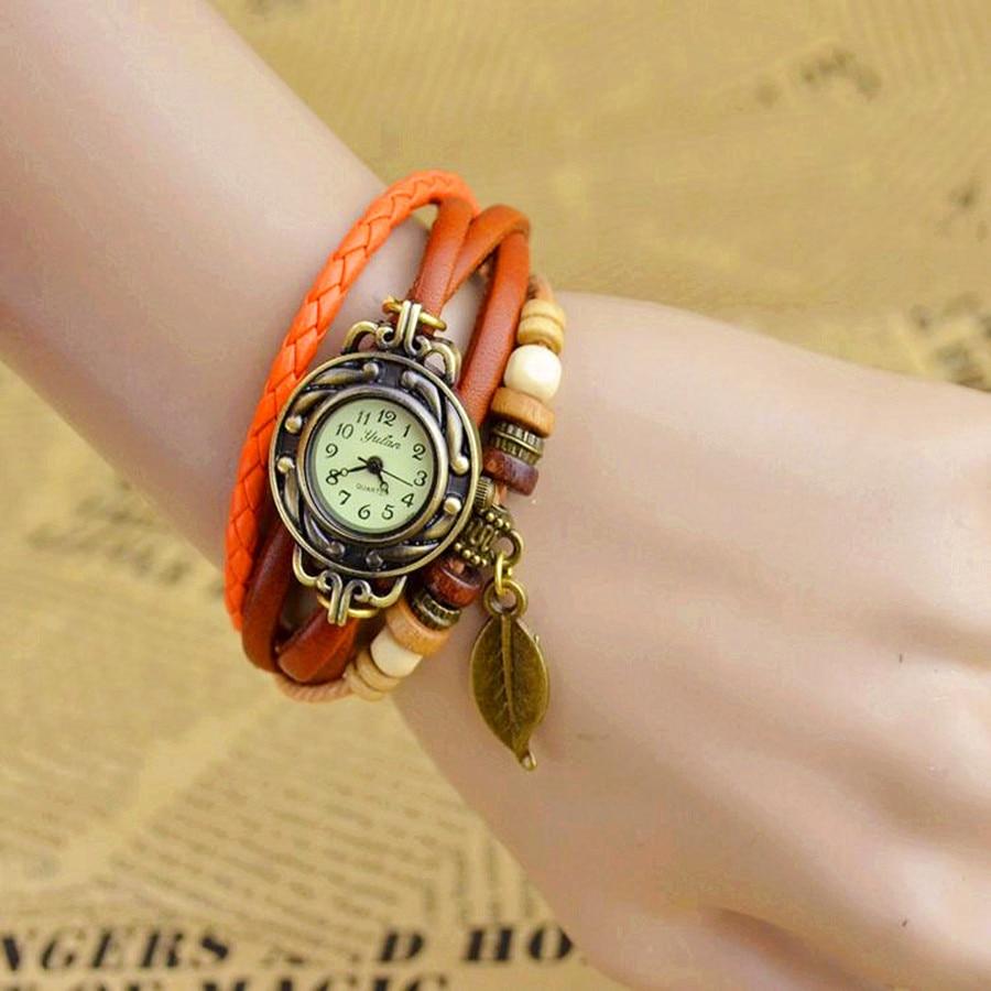 Dhl 100 개/몫 Wholesales 뜨거운 판매 패션 9 색 숙녀 핸드 니트 레트로 여성 가죽 팔찌 시계-에서여성용 시계부터 시계 의  그룹 1