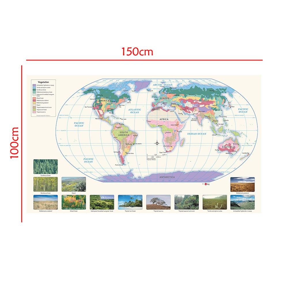 150x100cm The World Non-woven Spray Painting Map With Vegetation Species Distribution Map For Education