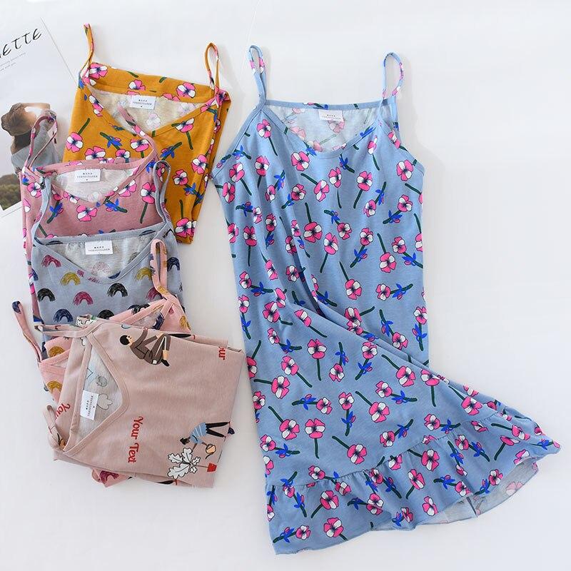 Summer Casual Thin Condole Belt Sleeping Dress Sleeveless Sleepwear Night Gown Cotton Night Wear Sexy   Sleepshirts   Lingerie Dress
