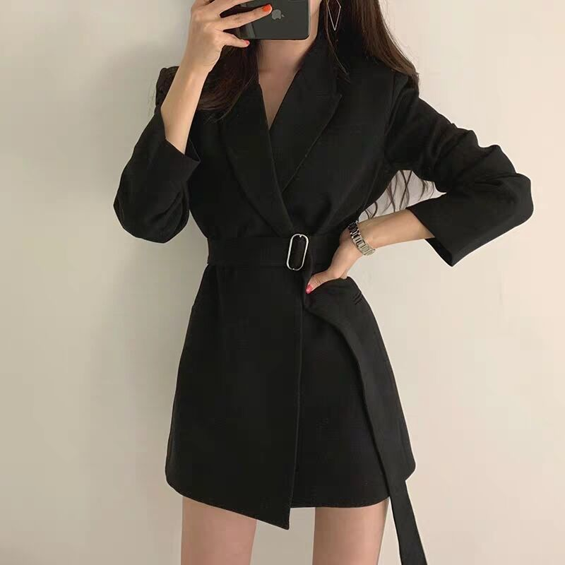 Fall 2019 Mew Women Blazer Coat Notched Collar Long Sleeve Belted Slim Autumn Coat Casual Long Blazer Jacket Outfit High Quality