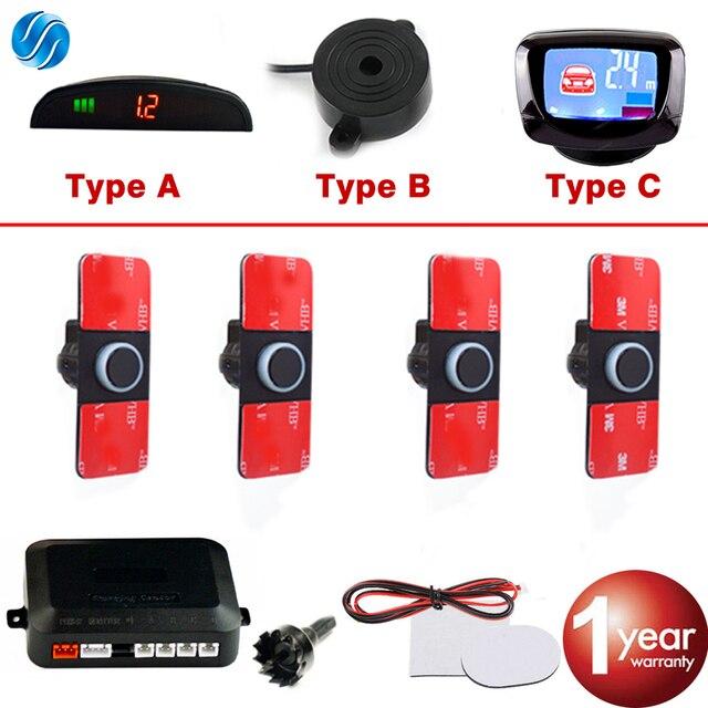 SINOVCLE Auto Parkplatz Sensor Set LED/LCD/Summer 4 Flache Umgekehrte Anzeige Parkplatz Sensor Kit 16mm 12V Backup Radar Monitor System