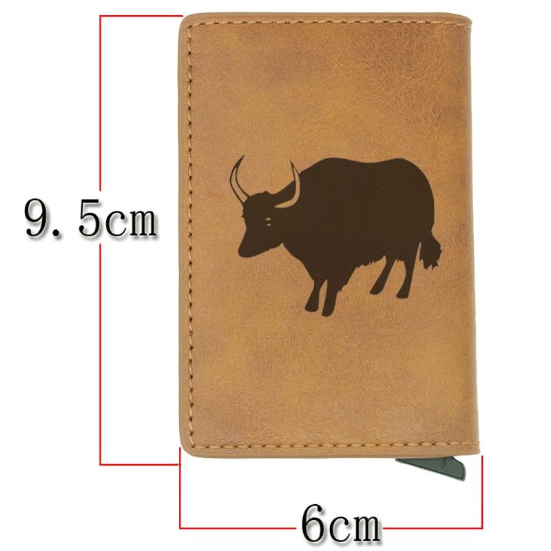 Vintage Classic Animal Cattle Rfid Card Holder Men Wallets Brown Short Purse Leather Slim Wallets Mini Wallets