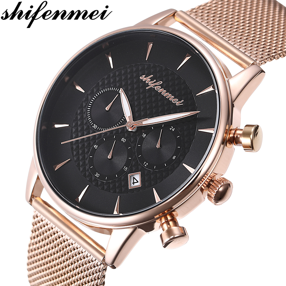 Shifenmei S1082S Luxury Quartz Mens Watches Stopwatch All Function Relogio All Pointers Work Waterproof Man Gold Watch