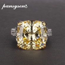 PANSYSEN Charms 100% Genuine 925 Sterling Silver 14*14mm Citrine gemstone Rings for Women Engagement Anniversary Fine Jewelry