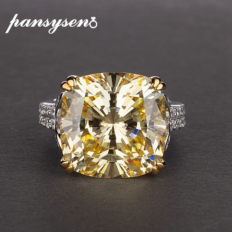 PANSYSEN Charms 14*14mm Natural Citrine Rings for Women 100% 