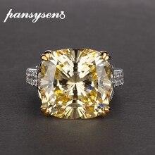 PANSYSEN anillos de piedras preciosas de citrino para mujer, 100% de Plata de Ley 925 auténtica, 14x14mm, joyería fina de compromiso de aniversario