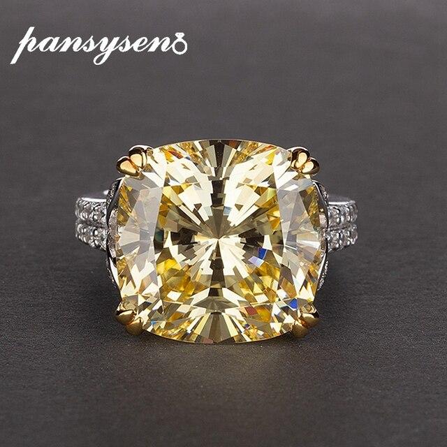 Pansysenチャーム100% 本物の925スターリングシルバー14*14ミリメートルシトリン宝石リング女性のための婚約記念ファインジュエリー
