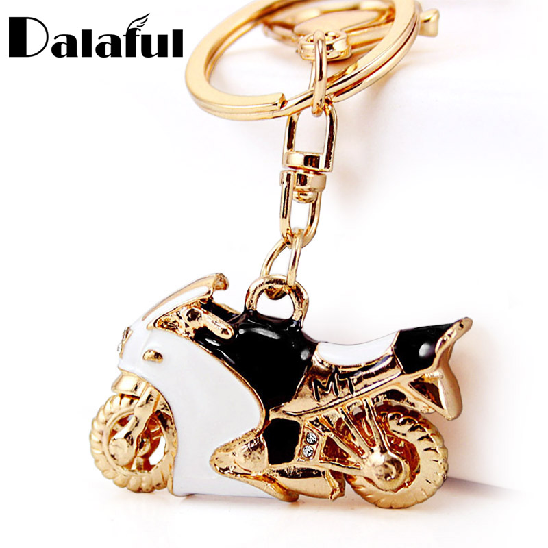 Motorcycle Autobike Enamel Crystal Keychains Purse Bag Buckle Pendant For Car Keyrings Key Chains Holder Women K312