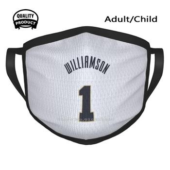 Sports Art - Zion Williamson Jersey Pelicans White Number Mouth Mask Face Masks Zion Williamson 1 Pelicans Neworleans New image